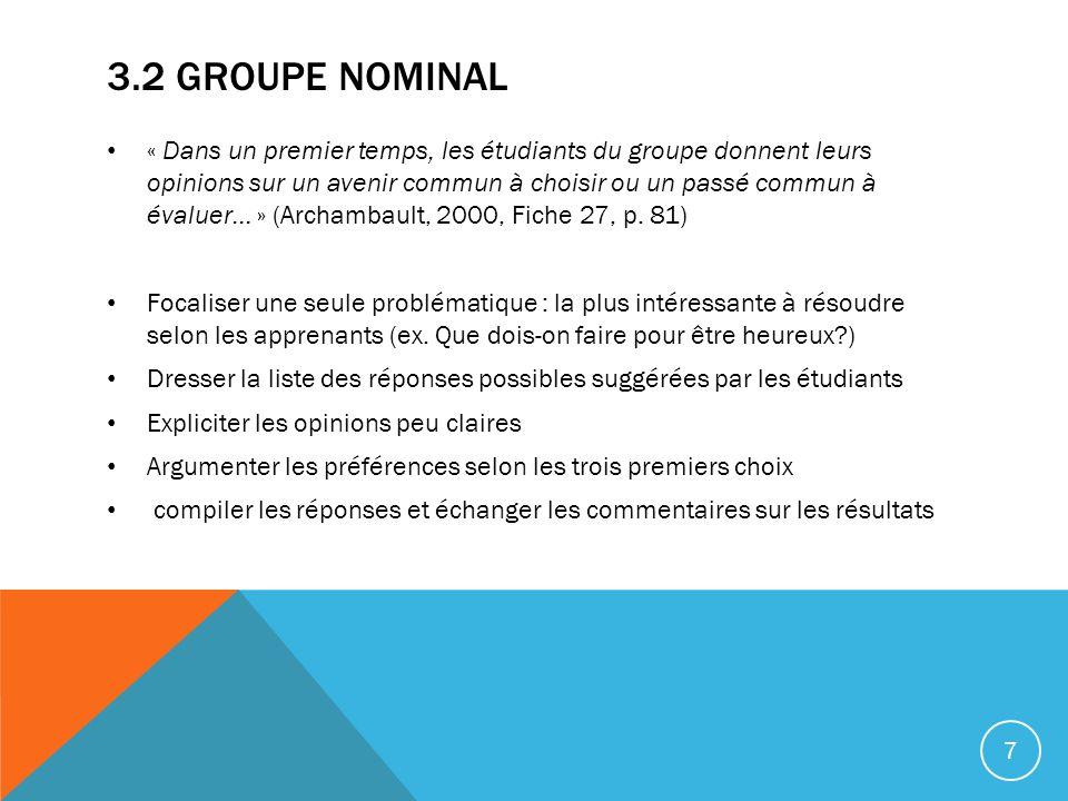 3.2 GROUPE NOMINAL « Dans un premier temps, les étudiants du groupe donnent leurs opinions sur un avenir commun à choisir ou un passé commun à évaluer… » (Archambault, 2000, Fiche 27, p.