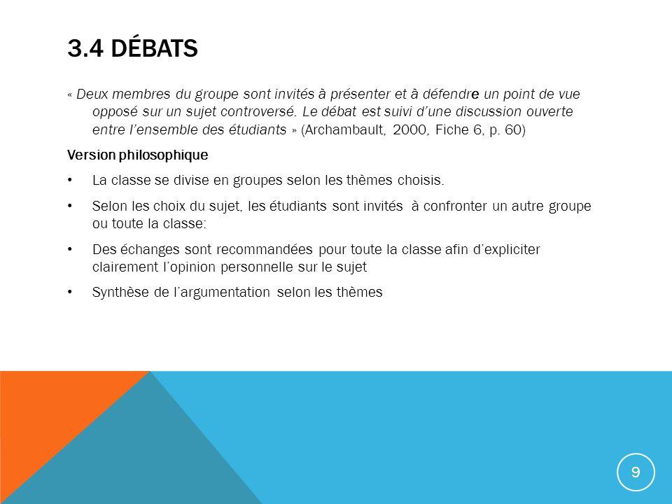 3.4 DÉBATS « Deux membres du groupe sont invités à présenter et à défendre un point de vue opposé sur un sujet controversé.