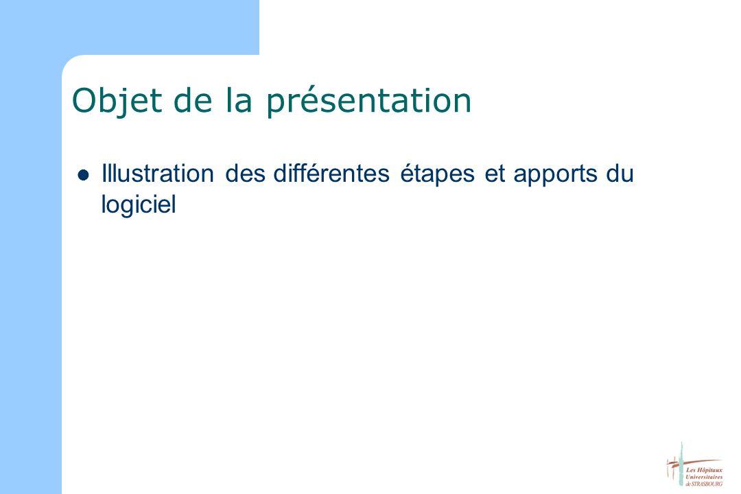 Objet de la présentation Illustration des différentes étapes et apports du logiciel