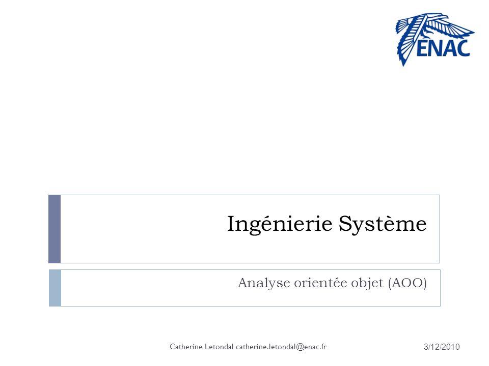 Ingénierie Système Analyse orientée objet (AOO) 3/12/2010 Catherine Letondal catherine.letondal@enac.fr