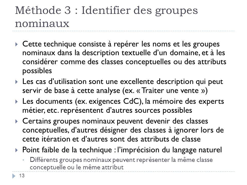 Méthode 3 : Identifier des groupes nominaux Cette technique consiste à repérer les noms et les groupes nominaux dans la description textuelle dun doma