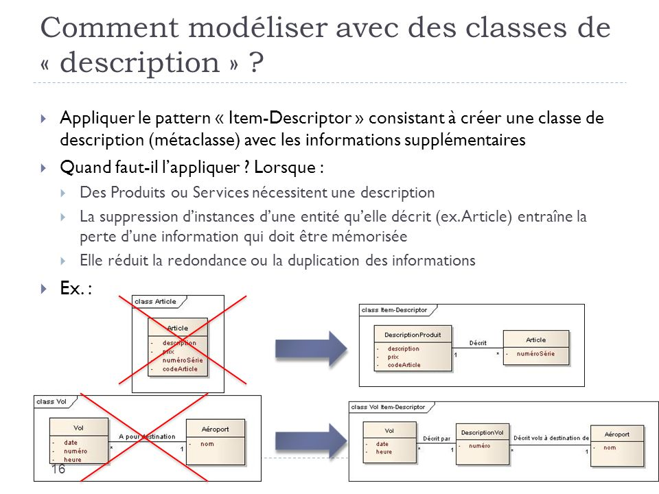 Comment modéliser avec des classes de « description » .