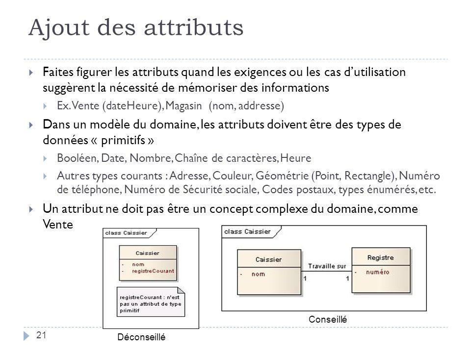 Ajout des attributs Faites figurer les attributs quand les exigences ou les cas dutilisation suggèrent la nécessité de mémoriser des informations Ex.