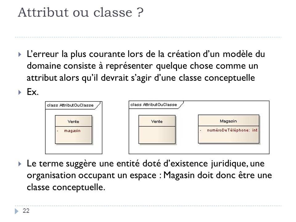 Attribut ou classe ? Lerreur la plus courante lors de la création dun modèle du domaine consiste à représenter quelque chose comme un attribut alors q