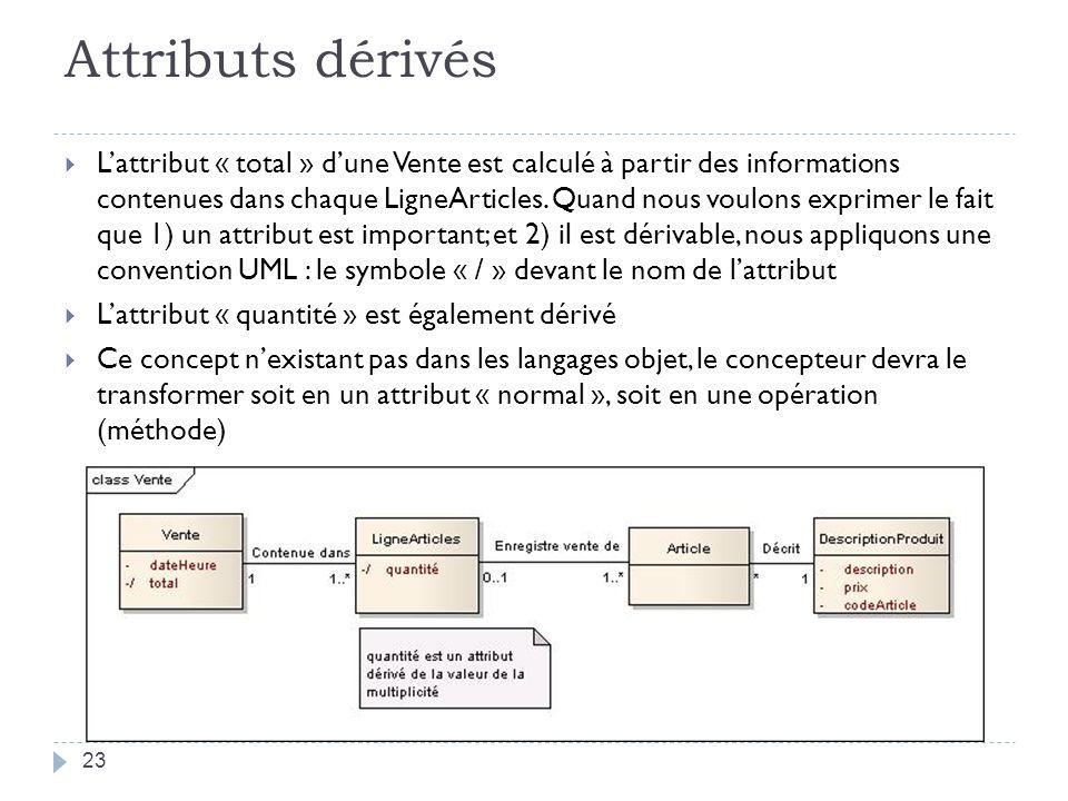 Attributs dérivés Lattribut « total » dune Vente est calculé à partir des informations contenues dans chaque LigneArticles. Quand nous voulons exprime