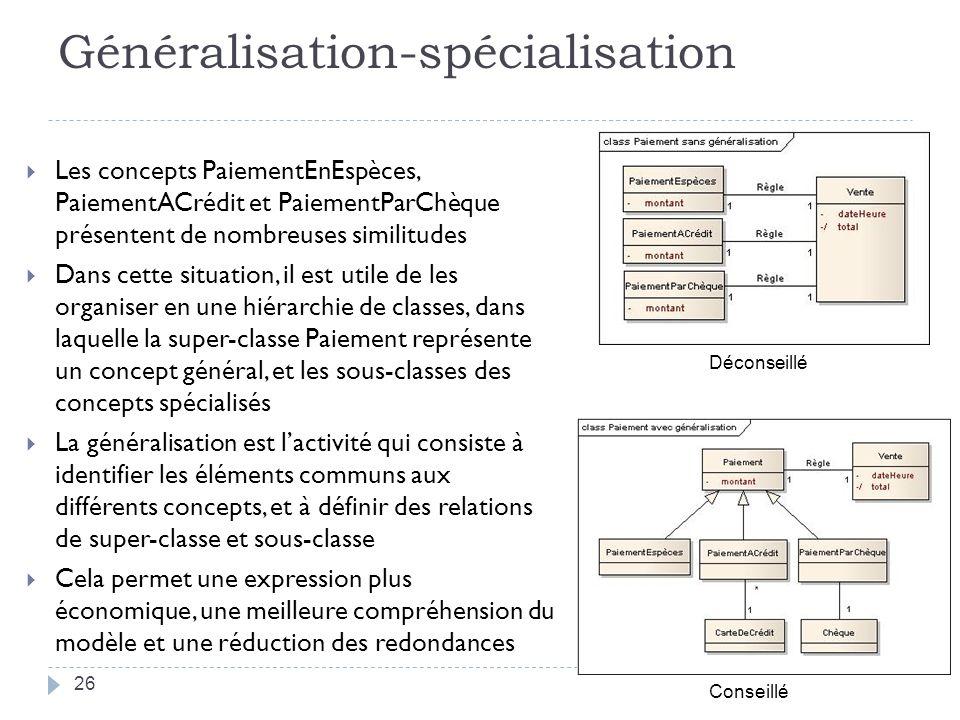 Généralisation-spécialisation Les concepts PaiementEnEspèces, PaiementACrédit et PaiementParChèque présentent de nombreuses similitudes Dans cette sit