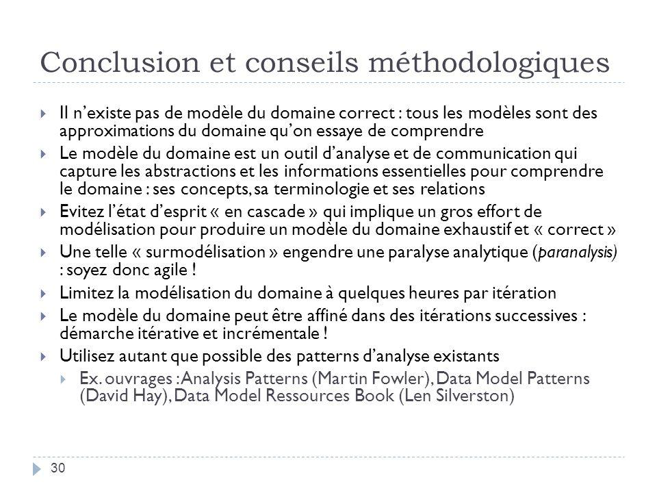 Conclusion et conseils méthodologiques Il nexiste pas de modèle du domaine correct : tous les modèles sont des approximations du domaine quon essaye d