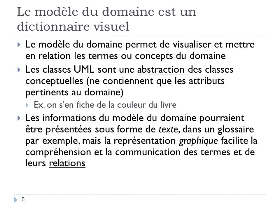 Le modèle du domaine est un dictionnaire visuel Le modèle du domaine permet de visualiser et mettre en relation les termes ou concepts du domaine Les