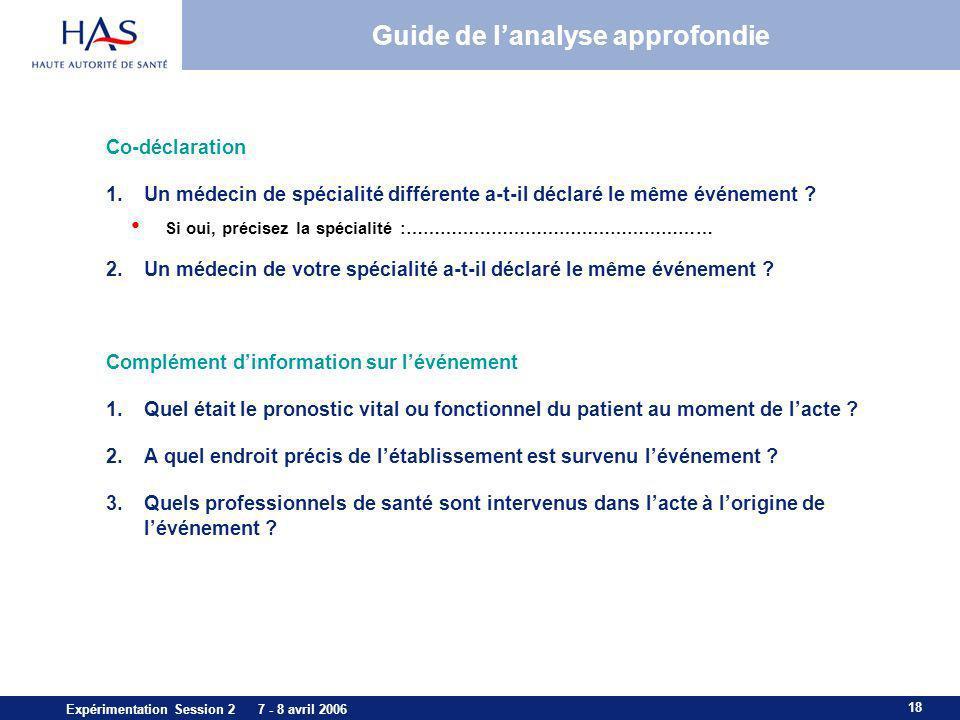 18 Expérimentation Session 2 7 - 8 avril 2006 Guide de lanalyse approfondie Co-déclaration 1.Un médecin de spécialité différente a-t-il déclaré le mêm