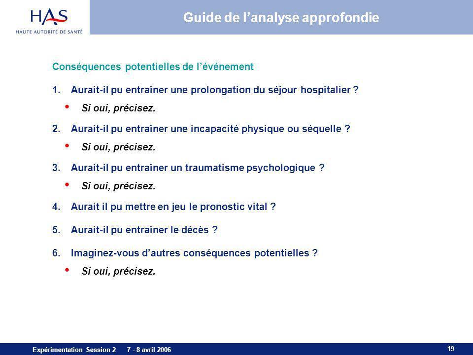 19 Expérimentation Session 2 7 - 8 avril 2006 Guide de lanalyse approfondie Conséquences potentielles de lévénement 1.Aurait-il pu entraîner une prolo
