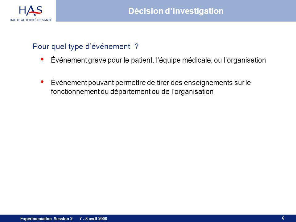 6 Expérimentation Session 2 7 - 8 avril 2006 Décision dinvestigation Pour quel type dévénement ? Événement grave pour le patient, léquipe médicale, ou