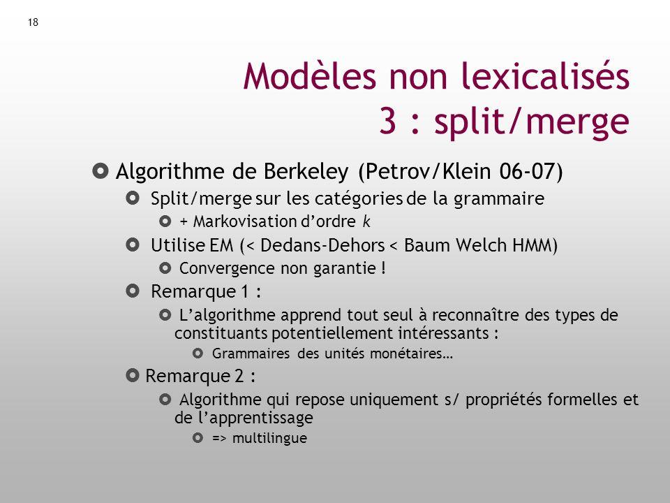 19 Architecture du processus Treebank Transfo Estimation Grammaire Parsing Raw Text Transfo -1 Treebank Entrainement : Analyse :