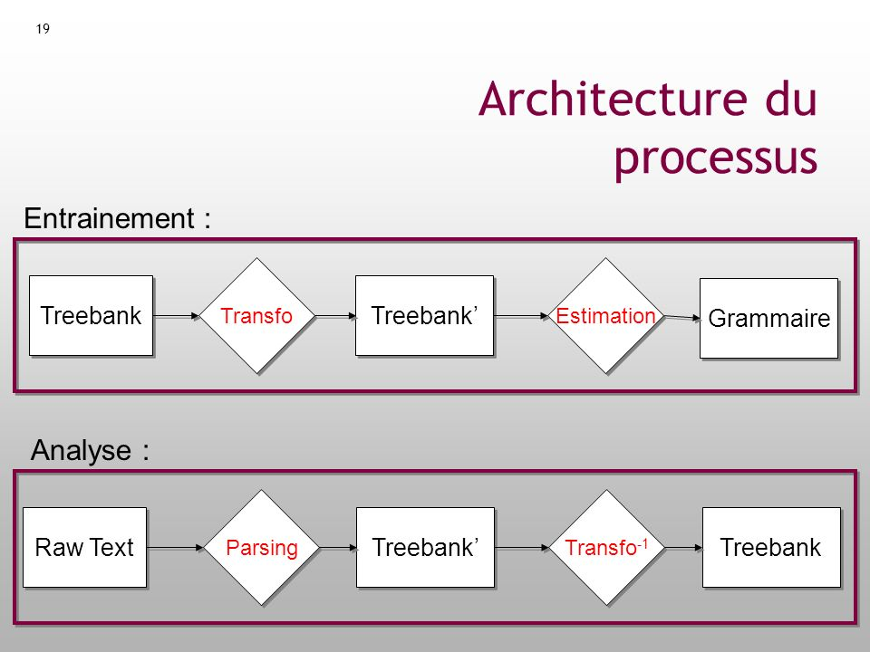 19 Architecture du processus Treebank Transfo Estimation Grammaire Parsing Raw Text Transfo -1 Treebank Entrainement : Analyse :