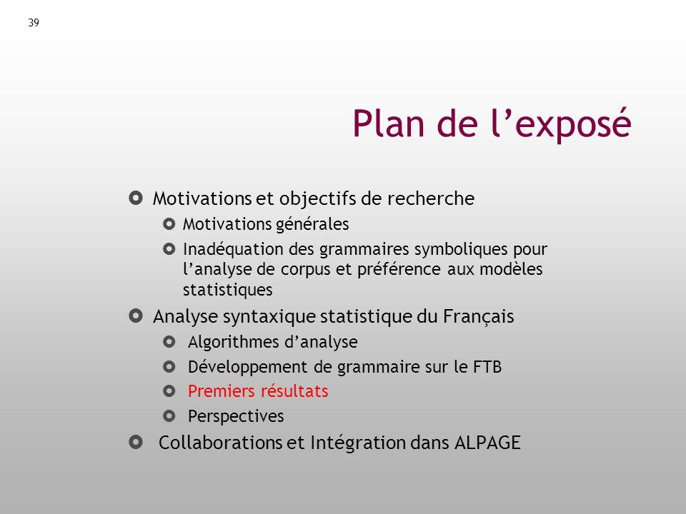 40 Evaluations I But : Décider quel algorithme danalyse est le mieux adapté pour parser le français (Charniak ignoré, trop spécifique au PTB) Protocole : Concertation avec S.