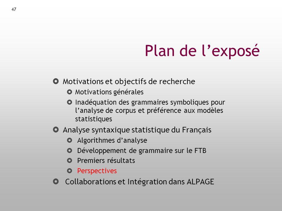 48 Perspective Analyse fonctionnelle Tâche connue : Functional Role Labelling Intérêt : Comparaison avec létat de lart français (Syntex/PASSAGE) Annotation en fonctions de surface Pas très utile pour le TAL (--> dépendances sémantiques) Jeu de fonctions envisagé : Jeu de RASP (= GDE++ de Caroll et.