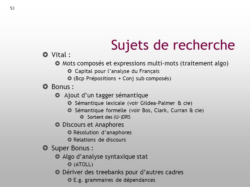 54 Collaborations Collaborations envisageables : Abeillé + LLF : syntaxe du Français (+ oral) Amsili .