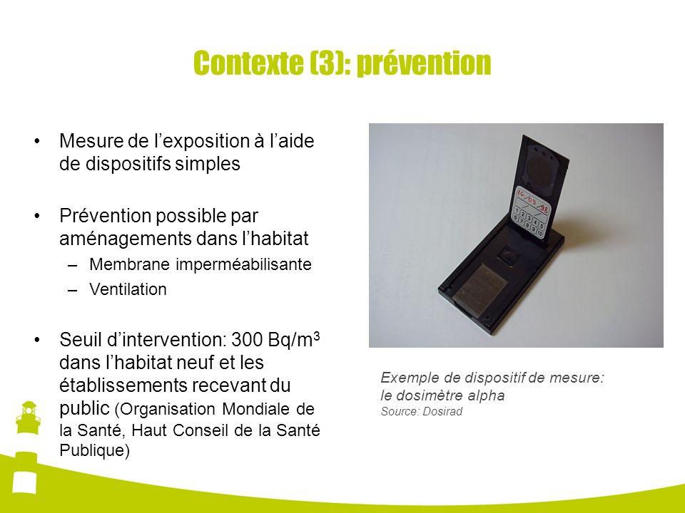Contexte (3): prévention Exemple de dispositif de mesure: le dosimètre alpha Source: Dosirad Mesure de lexposition à laide de dispositifs simples Prév