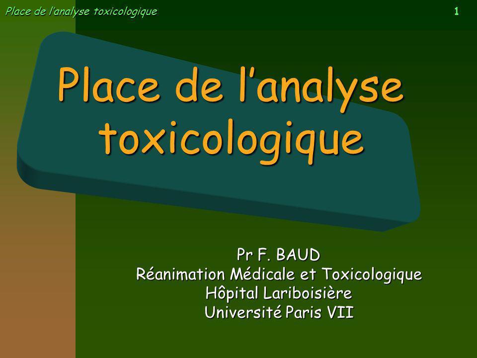 1 Place de lanalyse toxicologique Pr F. BAUD Réanimation Médicale et Toxicologique Hôpital Lariboisière Université Paris VII