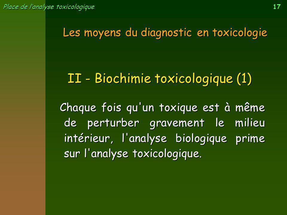 17 Place de lanalyse toxicologique Les moyens du diagnostic en toxicologie Chaque fois qu'un toxique est à même de perturber gravement le milieu intér