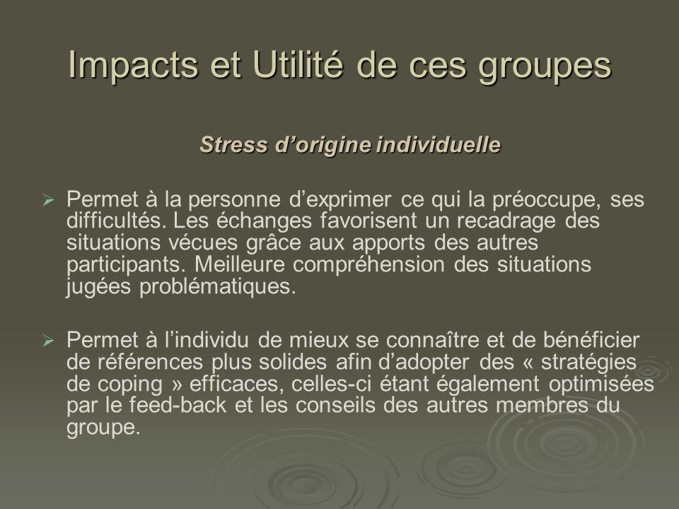 Impacts et Utilité de ces groupes Linfluence de ces groupes sur le stress individuel peut se traduire par le fait que le groupe joue un rôle déculpabilisant.