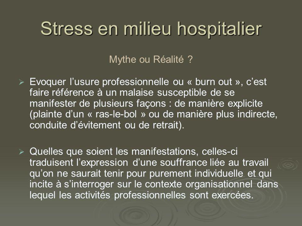 Stress en milieu hospitalier Éléments à lorigine du stress.