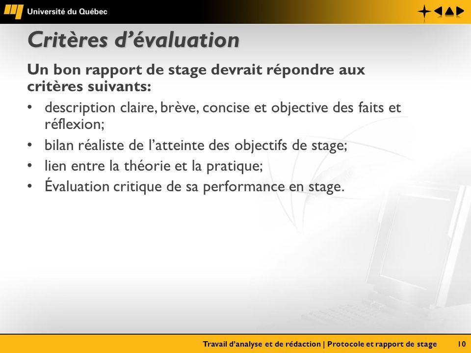 Critères dévaluation Un bon rapport de stage devrait répondre aux critères suivants: description claire, brève, concise et objective des faits et réfl