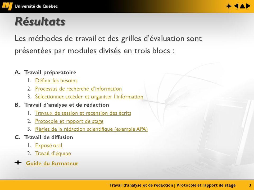 Résultats Les méthodes de travail et des grilles dévaluation sont présentées par modules divisés en trois blocs : A.Travail préparatoire 1.Définir les