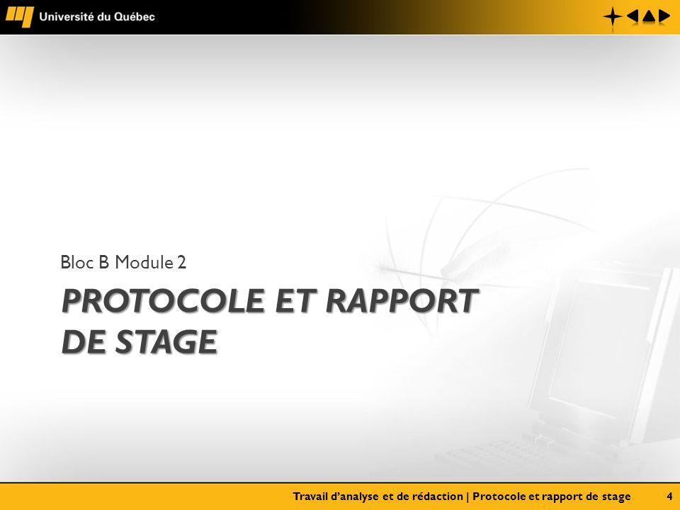 PROTOCOLE ET RAPPORT DE STAGE Bloc B Module 2 Travail danalyse et de rédaction | Protocole et rapport de stage4
