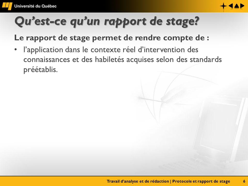 Quest-ce quun rapport de stage? Le rapport de stage permet de rendre compte de : lapplication dans le contexte réel dintervention des connaissances et