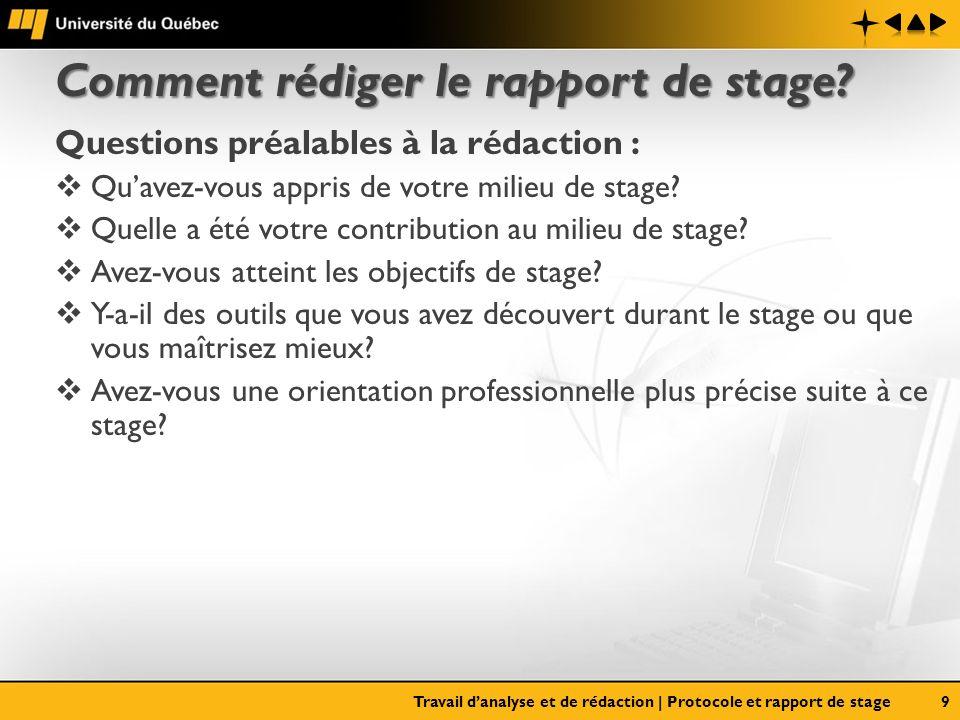 Comment rédiger le rapport de stage? Questions préalables à la rédaction : Quavez-vous appris de votre milieu de stage? Quelle a été votre contributio
