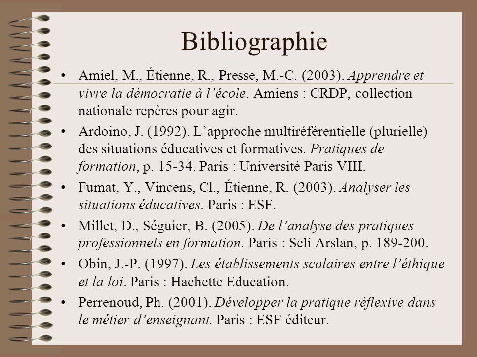 Bibliographie Amiel, M., Étienne, R., Presse, M.-C.
