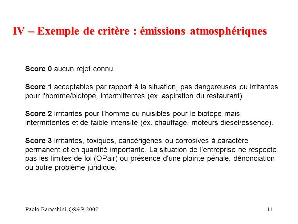 Paolo.Baracchini, QS&P, 200711 IV – Exemple de critère : émissions atmosphériques Score 0 aucun rejet connu.
