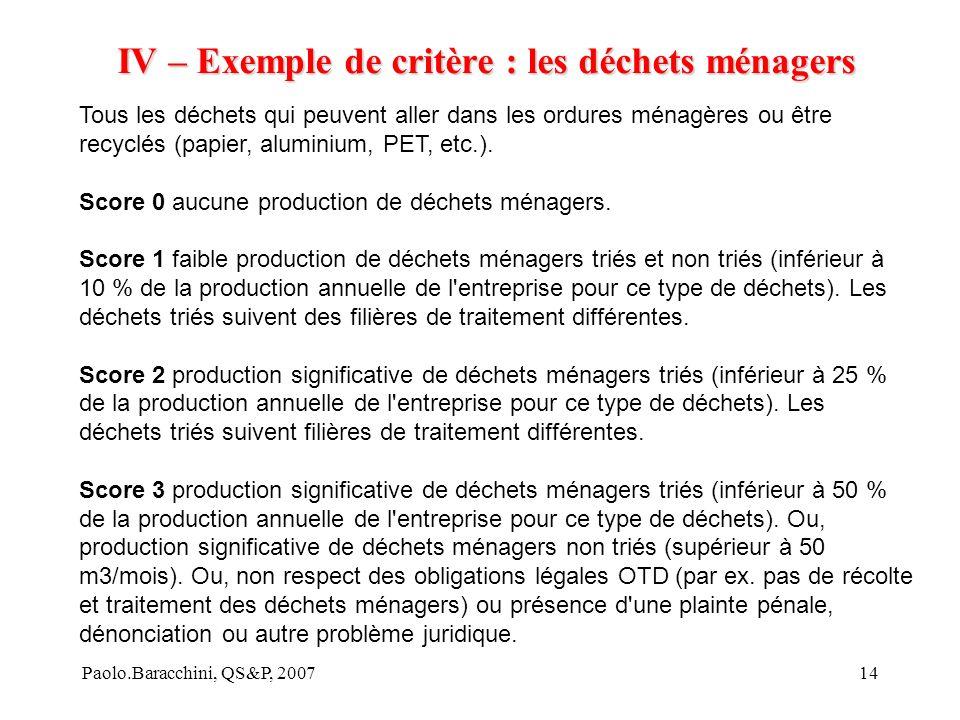 Paolo.Baracchini, QS&P, 200714 IV – Exemple de critère : les déchets ménagers Tous les déchets qui peuvent aller dans les ordures ménagères ou être recyclés (papier, aluminium, PET, etc.).