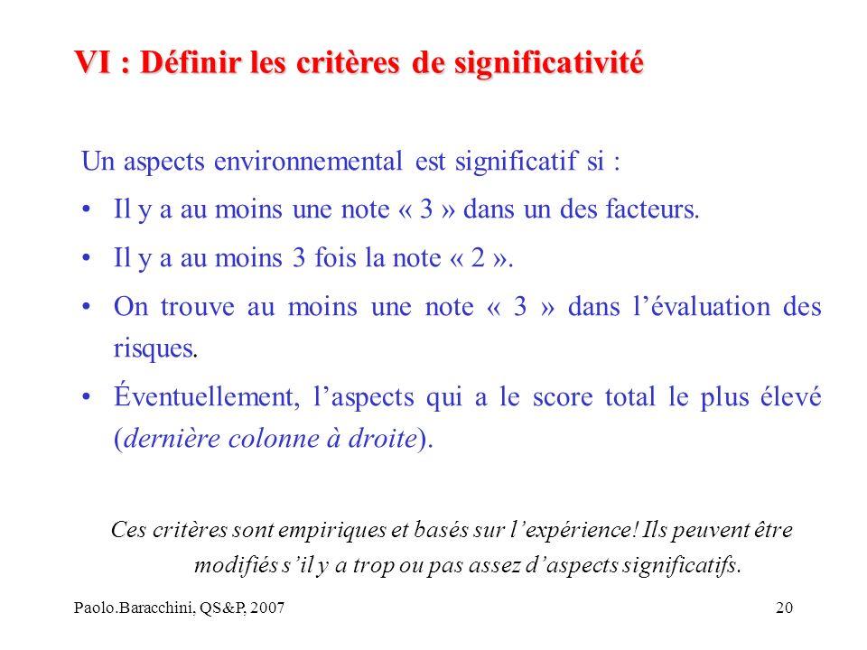 Paolo.Baracchini, QS&P, 200720 Un aspects environnemental est significatif si : Il y a au moins une note « 3 » dans un des facteurs.