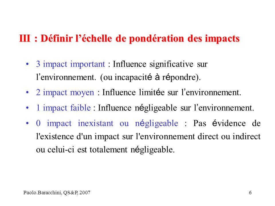 Paolo.Baracchini, QS&P, 20076 3 impact important : Influence significative sur l environnement.