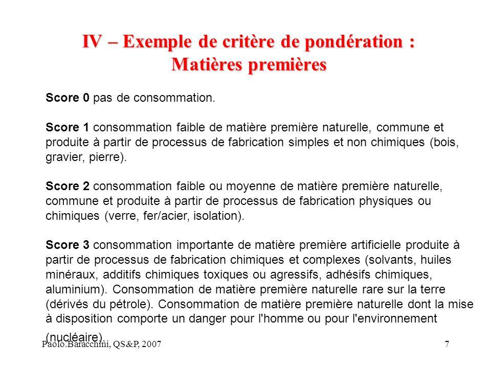 Paolo.Baracchini, QS&P, 20077 IV – Exemple de critère de pondération : Matières premières Score 0 pas de consommation.