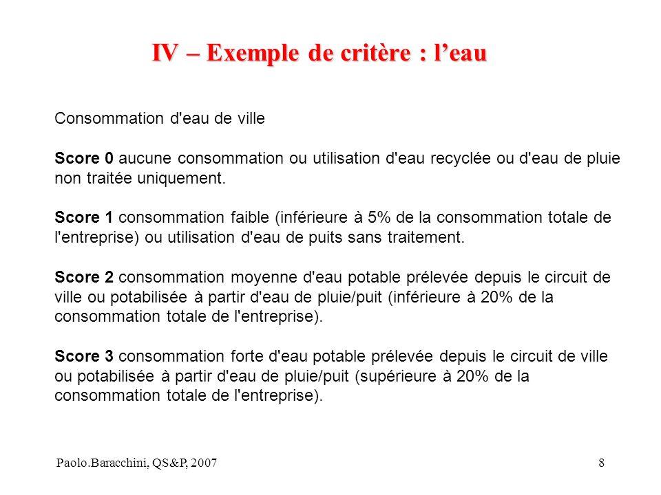 Paolo.Baracchini, QS&P, 20078 IV – Exemple de critère : leau Consommation d eau de ville Score 0 aucune consommation ou utilisation d eau recyclée ou d eau de pluie non traitée uniquement.