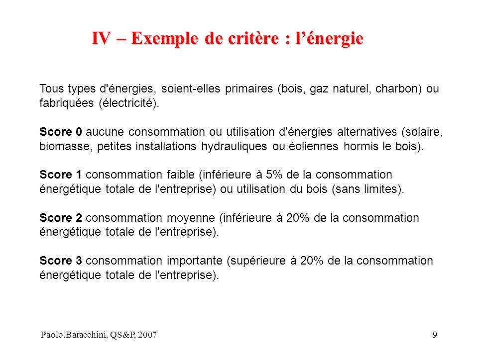 Paolo.Baracchini, QS&P, 20079 IV – Exemple de critère : lénergie Tous types d énergies, soient-elles primaires (bois, gaz naturel, charbon) ou fabriquées (électricité).