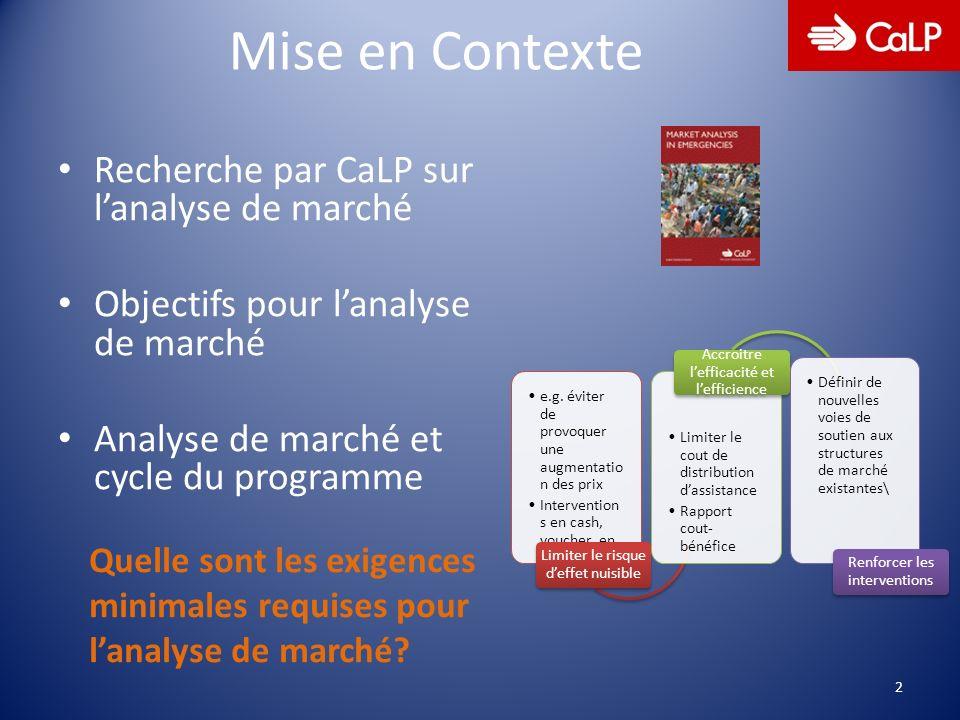 Mise en Contexte Recherche par CaLP sur lanalyse de marché Objectifs pour lanalyse de marché Analyse de marché et cycle du programme 2 Quelle sont les exigences minimales requises pour lanalyse de marché.