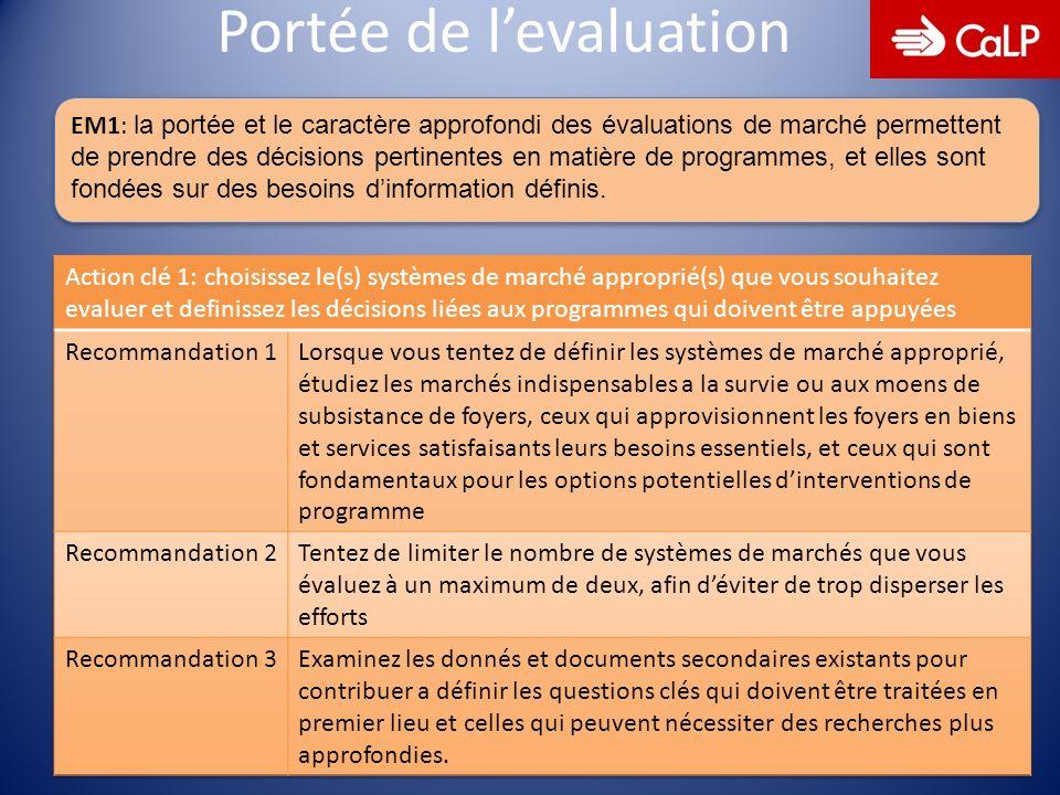 6 Portée de levaluation EM1: la portée et le caractère approfondi des évaluations de marché permettent de prendre des décisions pertinentes en matière de programmes, et elles sont fondées sur des besoins dinformation définis.