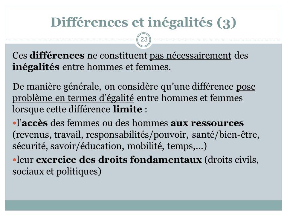 Différences et inégalités (3) Ces différences ne constituent pas nécessairement des inégalités entre hommes et femmes. De manière générale, on considè