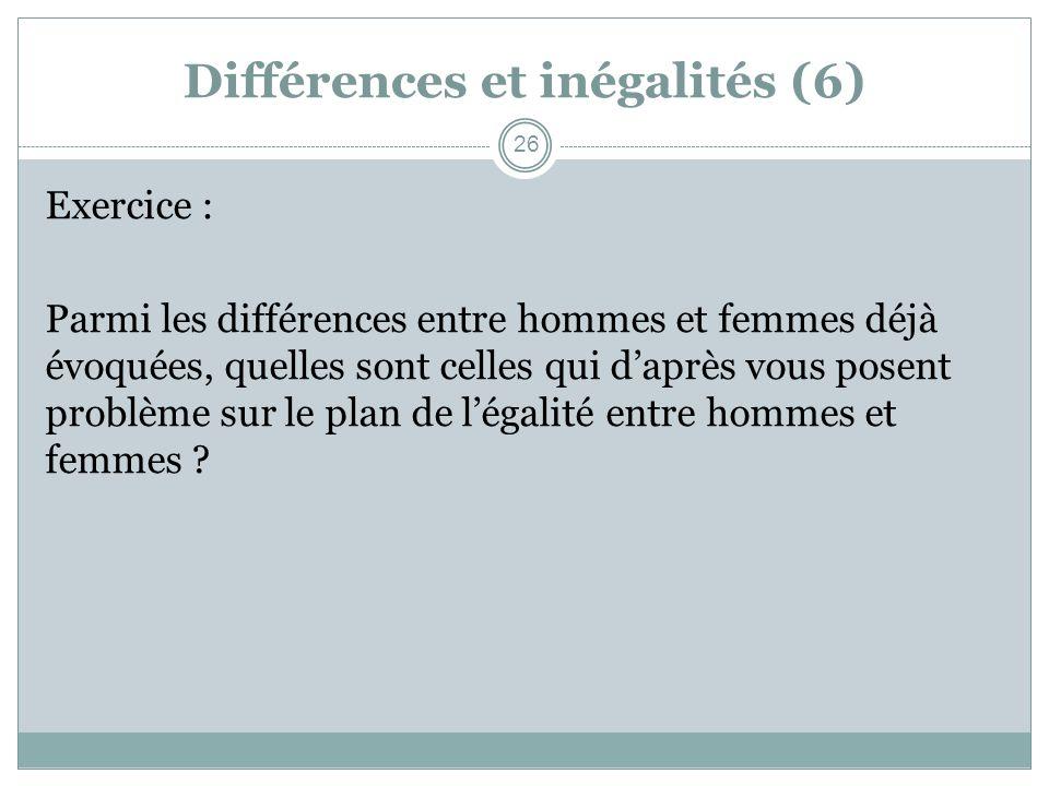 Différences et inégalités (6) Exercice : Parmi les différences entre hommes et femmes déjà évoquées, quelles sont celles qui daprès vous posent problè