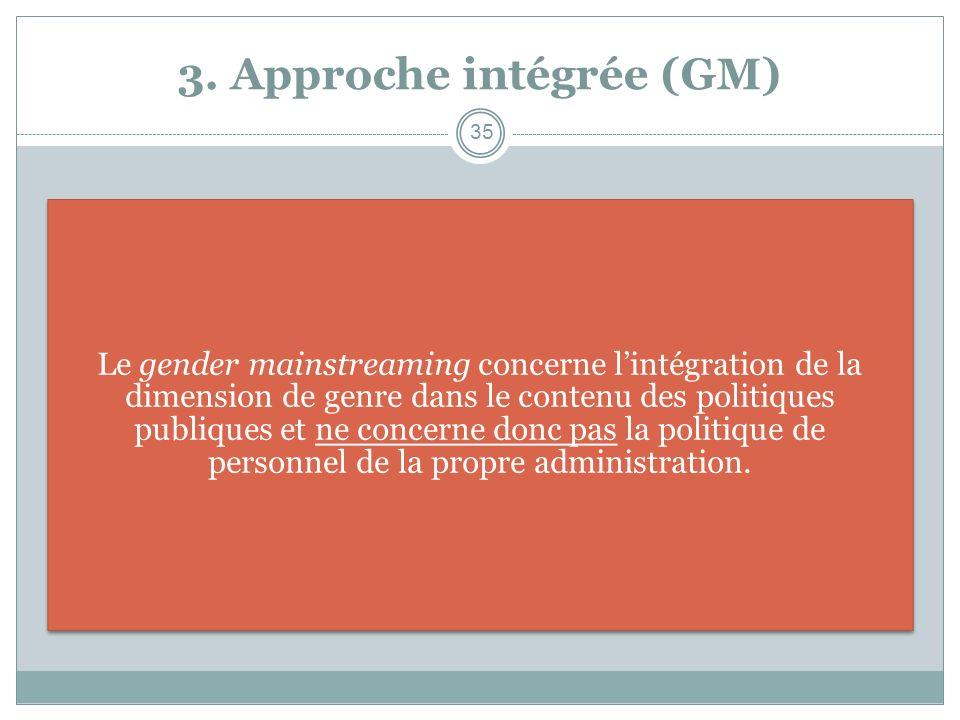 3. Approche intégrée (GM) Le gender mainstreaming concerne lintégration de la dimension de genre dans le contenu des politiques publiques et ne concer