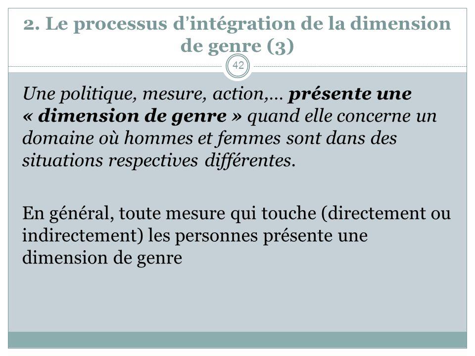 2. Le processus dintégration de la dimension de genre (3) Une politique, mesure, action,… présente une « dimension de genre » quand elle concerne un d