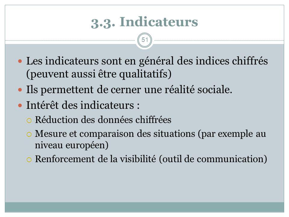 3.3. Indicateurs Les indicateurs sont en général des indices chiffrés (peuvent aussi être qualitatifs) Ils permettent de cerner une réalité sociale. I