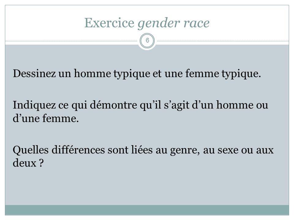 Exercice gender race Dessinez un homme typique et une femme typique. Indiquez ce qui démontre quil sagit dun homme ou dune femme. Quelles différences