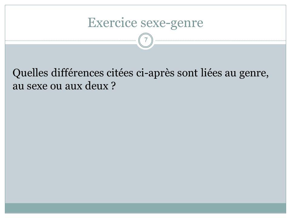 Quiz! Exercice illustrant les différences qui existent entre hommes et femmes. 18