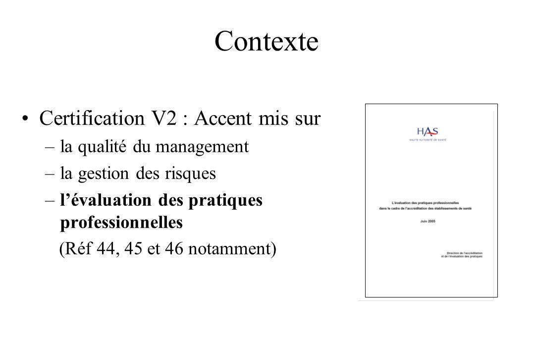 Contexte Certification V2 : Accent mis sur –la qualité du management –la gestion des risques –lévaluation des pratiques professionnelles (Réf 44, 45 e
