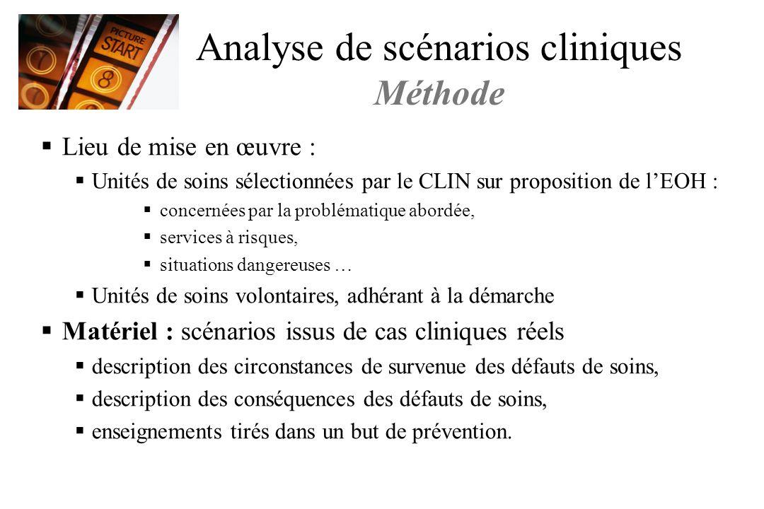Analyse de scénarios cliniques Méthode Lieu de mise en œuvre : Unités de soins sélectionnées par le CLIN sur proposition de lEOH : concernées par la p