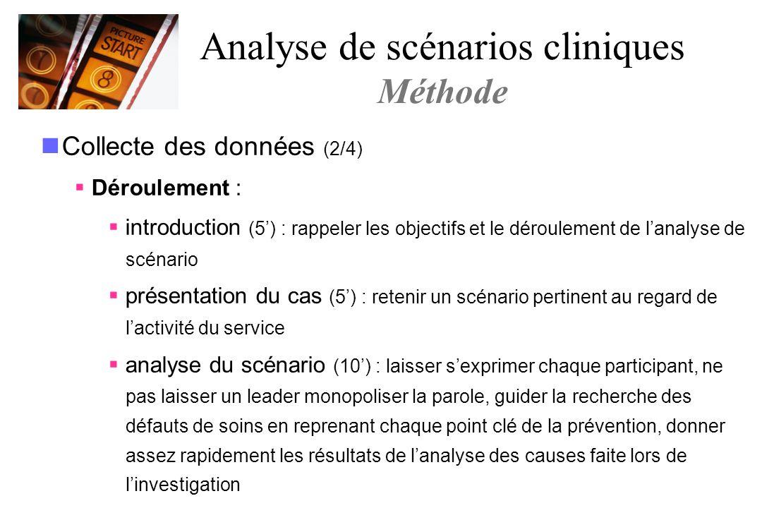Collecte des données (2/4) Déroulement : introduction (5) : rappeler les objectifs et le déroulement de lanalyse de scénario présentation du cas (5) :